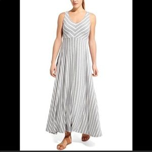 Athleta Gray & White Striped Dreamin Maxi Dress